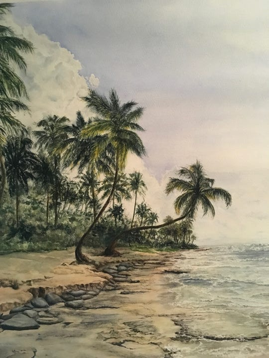 "Bobbie Buckingham's painting, ""Las Terrenas Beach, Dominican Republic,"" emerged from a photograph taken by her daughter while on vacation."