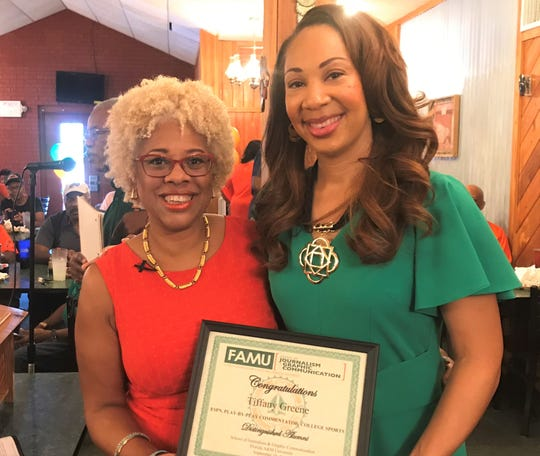 Dr. Michelle Ferrier, dean of the FAMU School of Journalism & Graphic Communications, presented ESPN commentator Tiffany Greene with the 2019 Thelma Thurston Gorham Distinguished Alumni Award at the 220 Quarterback Club meeting on Wednesday, Sept. 18, 2019.