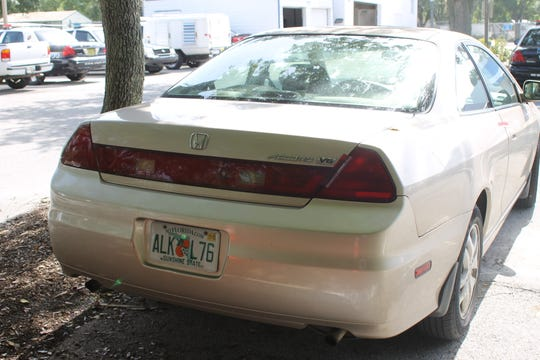 Vero Beach police photographed the car belonging to Michael Jones, a 2002 gold Honda Accord.