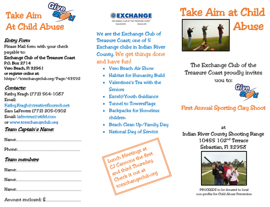 """The Exchange Club of the Treasure Coast is hosting its second annual """"Take Aim at Child Abuse"""" sporting clay shoot to raise money to support nonprofits that focus on child abuse prevention. The skeet shootwill beat the Indian River County Range in Sebastian on Sept. 28."""