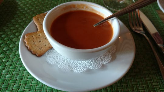 Sumptuous tomato bisque, a bit on the sweeter side, is delicious at Citron Bistro.