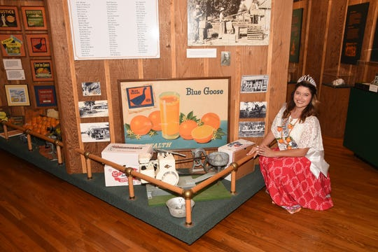 Miss Vero Centinnial Anna Valencia Tillery in the Citrus Museum at the Heritage Center booths will be on display during the Centennial Celebration Finale.