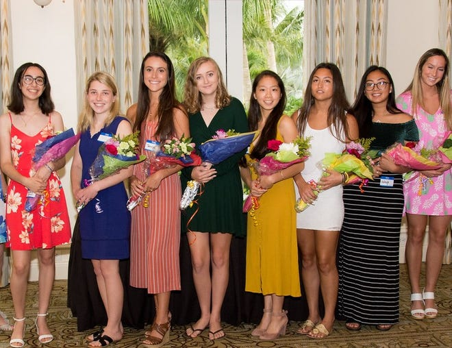 Eight of the Woman's Club of Stuart's scholarship winners are, from left, Courtney Carroll, Grace Long, Jenna Prywitowski, Morgan O'Neil, Ella Saum, Destiny Young, Hayleigh Boorman and Grace Wadley.