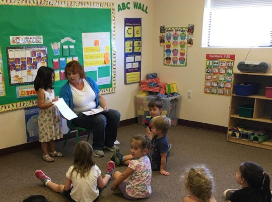Christ Kids Preschool Director Denis Egge teaches class. The preschool celebrates 20 years.