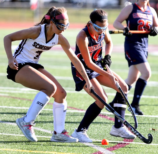 Horace Greeley's Sophia Rutman (14) and Scarsdale's Victoria Hillson (3) battle for control of the ball during field hockey game at Scarsdale High School Sept.18, 2019. Horace Greeley defeats Scarsdale 4-0.