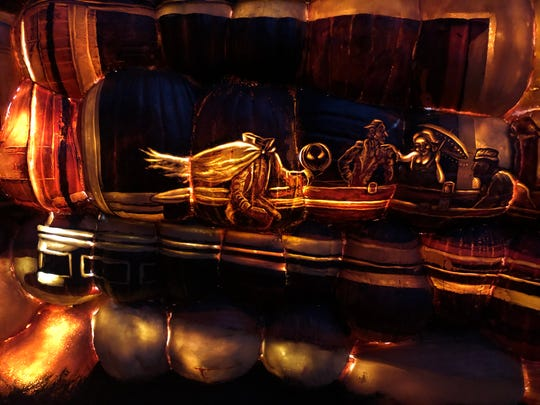 """New at this year's Great Jack O'Lantern Blaze is The Museum of Pumpkin Art, with this homage to Edward Hopper's """"Nighthawks."""""""