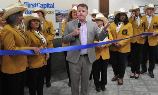 Wichita Falls Chamber of Commerce, CEO, president Henry Florsheim welcomed a small crowd, Thursday morning, for a ribbon-cutting ceremony held for FirstCapital Bank of Texas' grand-opening of their Wichita Falls branch located at 2525 Kell Blvd.