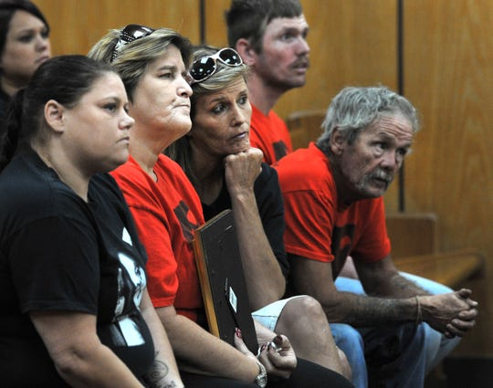 Danielle Nicole Shelton's family members listen as Aaron Charles Jennings pleads guilty to intoxicated manslaughter with a vehicle. Shelton was riding in a vehicle driven by Aaron Charles Jennings crashed Jan. 10, 2018, at the intersection of Loop 11 at N. Beverly Dr.