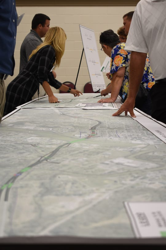 Those who showed up to ODOT's public meeting Wednesday on I-70 reconstruction through Zanesville were able to view an enlarged map of the entire project and ask questions of ODOT representatives.