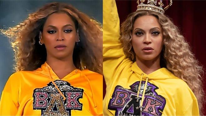 Beyoncé and her wax figure.