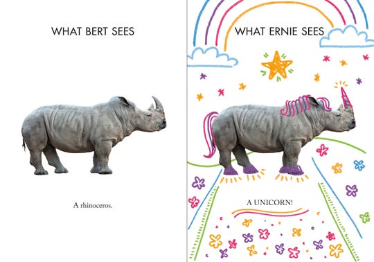 Is it a rhino or a unicorn? According to Ernie and Bert, it is all in the eye of the beholder.