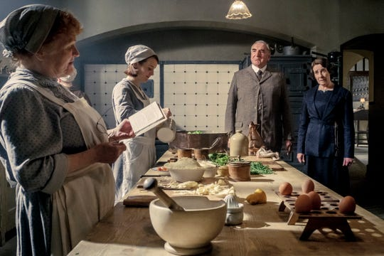 """Mrs. Patmore (Lesley Nicol, from left), Daisy (Sophie McShera), Mr. Carson (Jim Carter) and Mrs. Hughes (Phyllis Logan) are among the main familiar faces who return for the big-screen version of """"Downton Abbey."""""""