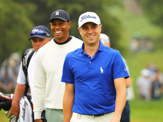 Tiger Woods, left, and Justin Thomas  during a practice round ahead the 2019 U.S. Open.
