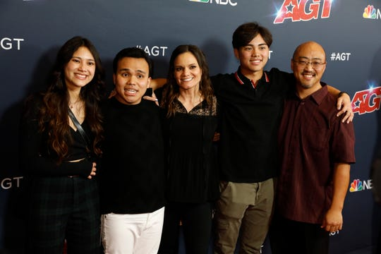 'America's Got Talent' winner Kodi Lee, second from left, enjoyed his victory Wednesday with his sister, Kayla, left; his mother, Tina; his brother, Derek; and his father, Eric.