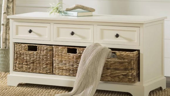 The Beachcrest Home Ardina Wood Storage Bench is ideal for entryways.