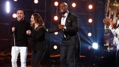 "AMERICA'S GOT TALENT -- ""Live Results Finale"" Episode 1423 -- Pictured: (l-r) Kodi Lee, Terry Crews -- (Photo by: Trae Patton/NBC)"