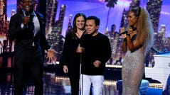 """Terry Crews, Tina Lee, Kodi Lee and Leona Lewis during the season finale of """"America's Got Talent"""" on Sept. 18."""