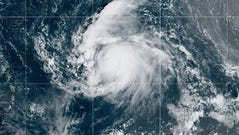 Tropical Storm Jerry was poised to become a hurricane as it trekked west toward Puerto Rico on Sept. 19, 2019.