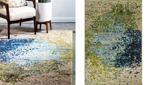 This subtle, understated rug blends earth and jewel tones beautifully.
