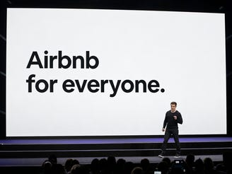 Airbnb CEO Brian Chesky gives a presentation in February. The 真人百家家乐官网网站home-sharing service is announcing that going to require that lodging providers follow enhanced cleaning procedures amid concerns about the coronavirus.