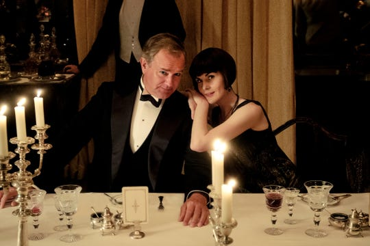 """Lady Mary (Michelle Dockery), leans on her father, Robert (Hugh Bonneville), Earl of Grantham, but he's actually leaning on her to keep the estate afloat in """"Downton Abbey."""""""