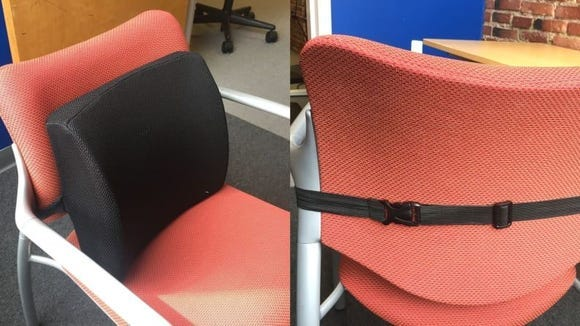 It's incredibly easy to attach to any chair (you can even use it in the car!)