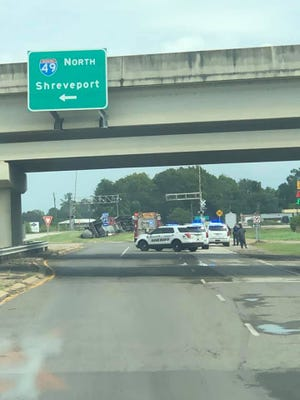 An 18-wheeler overturned in a median on Rapides Station Road Friday afternoon, forcing the closure of northbound Interstate 49 lanes. The lanes are expected to be closed between 10 to 12 hours.