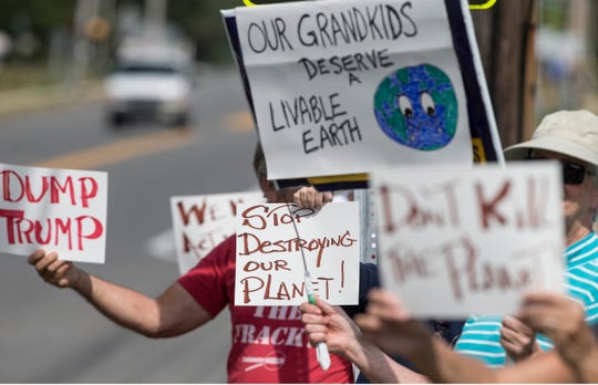 A group of approximately 15 protesters demonstrate on Old Freehold Road in front of Toms River High School North. No students participated in the event that was locally organized by a Toms River High School North student.      Toms River, NJ Friday, September 20, 2019