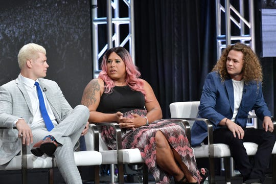 Cody Rhodes, Nyla Rose and Jungle Boy of All Elite Wrestling speak during the TNT & TBS segment of the Summer 2019 Television Critics Association Press Tour 2019 at The Beverly Hilton Hotel on July 24, 2019 in Beverly Hills, California.