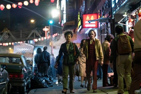 "Zazie Beetz, left, as Sophie Dumond and Joaquin Phoenix as Arthur Fleck in Warner Bros. Pictures, Village Roadshow Pictures and BRON Creative's ""Joker,"" a Warner Bros. Pictures release."