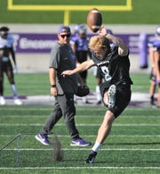 ACU kicker Blair Zepeda practices kicking field goals during the Wildcats' practice Thursday, Sept. 19, 2019, at Wildcat Stadium. ACU plays McNeese State at 6 p.m. Saturday in a conference game at Wildcat Stadium.