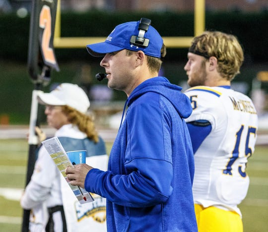Cooper grad Landon Hoefer watches from the sidelines as an assistant with the McNeese football team. Hoefer, who is in his sixth year with the Cowboys, returns to Abilene as McNeese plays ACU at 6 p.m. Saturday in a Southland Conference game at Wildcat Stadium.