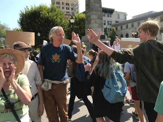Hundreds gathered at Pack Square Park on Sept. 20, 2019, as part of the Global Climate Strike.