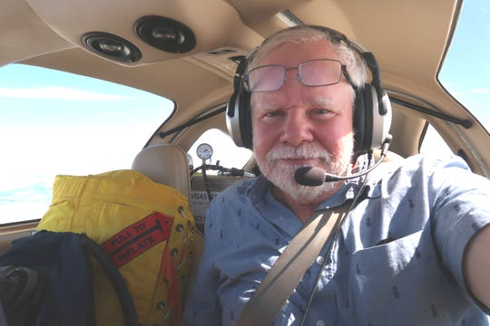 Harry Anderson during his flight around the globe this summer.