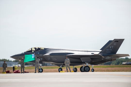 The F-35 fighter jets land at the Burlington International Airport on Thursday afternoon September 19, 2019 in South Burlington, Vermont.