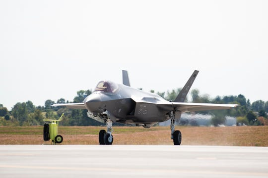 Two F-35 jets land at the Burlington International Airport on Thursday afternoon September 19, 2019 in South Burlington, Vermont.