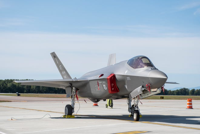 One of two F-35 jets sits on the runway at the Burlington International Airport on Thursday afternoon September 19, 2019 in South Burlington, Vermont.