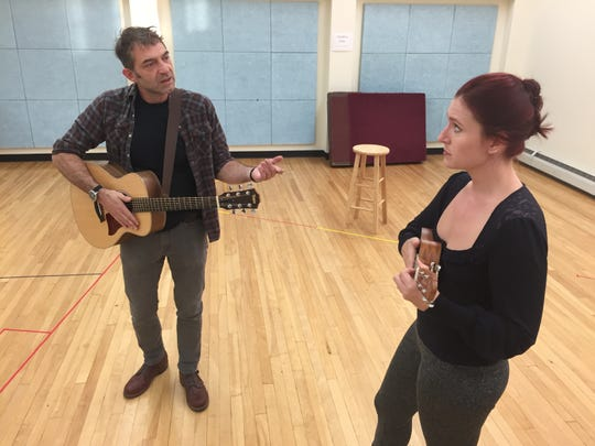 "Jordan Gullikson and Charlotte Munson rehearse for the Vermont Stage play ""The Last Wide Open"" at the Elley-Long Music Center in Colchester on Sept. 18, 2019."