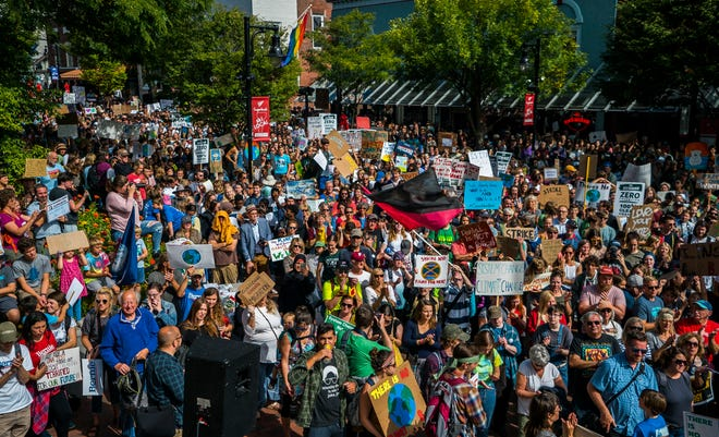 Thousands pack Church Street in front of Burlington City Hall on Friday, Sept. 20, 2019, for the Vermont Climate Strike Rally, part of the Global Climate Strike worldwide to draw attention to climate change.