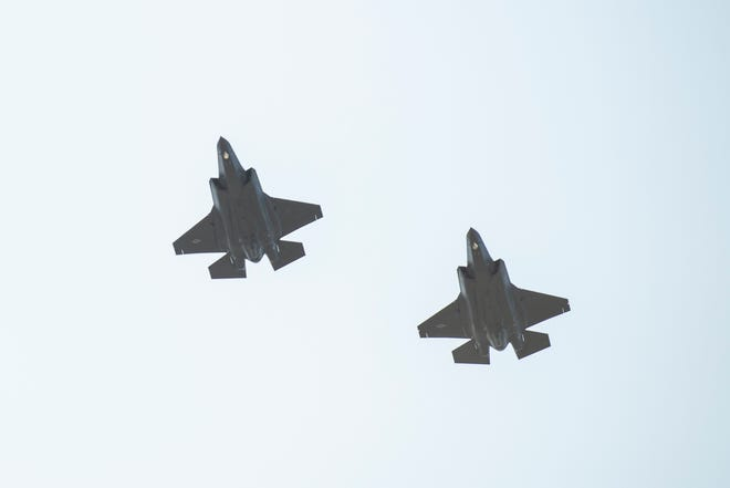 Two F-35 jets fly over the Burlington International Airport on Thursday afternoon September 19, 2019 in South Burlington, Vermont.