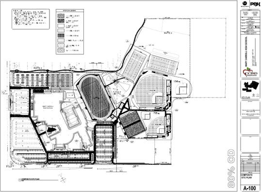 A blueprint of the new Mary Carroll High School.