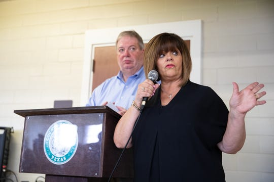 Carolyn Vaugh Nueces Pct. 1 County Commissioner addresses the residents at a town hall meeting who are affected by the 19 crude oil storage tanks being constructed near Calallen by Epic on Thursday, Sept. 19, 2109.