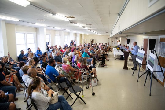 EPIC CEO Phil Mezey addresses residents who live near the 19 crude oil storage tanks his company is building near Calallen. He spoke to them during at town hall meeting on Thursday, Sept. 19, 2019.