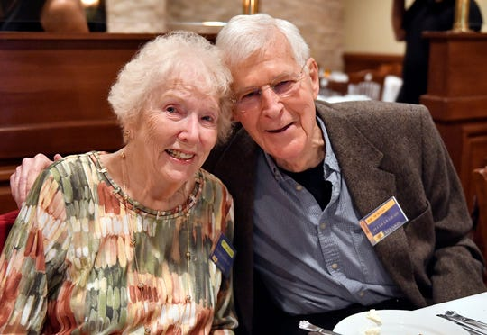 Joyce Mangoe Simpkins and her Collingswood High School classmate Ed Schaaf pose for a photo during their 70th class reunion at Giumarello's Restaurant in Westmont on Friday, Sept. 20, 2019.