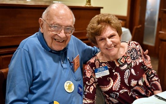 Collingswood High School Class of 1949 graduate Tony Perrella attends his 70th class reunion with his friend Claire Braverman at Giumarello's Restaurant in Westmont.