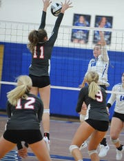 Southeastern's Alexis Bailes goes up for a block during a match against Westfall at Southeastern High School on Thursday September 19, 2019 in Chillicothe, Ohio.