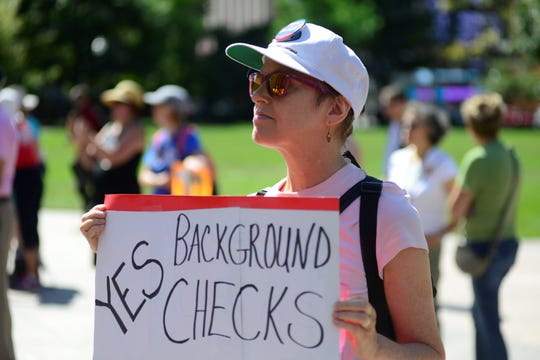 Catherine Queener attended a gun control rally outside the Ohio Statehouse on Wednesday, Sept. 18, 2019.