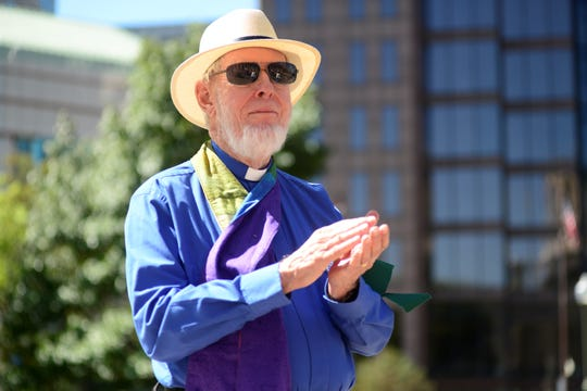 Paul Lherrou, a retired Unitarian minister, attended a gun control rally outside the Ohio Statehouse on Wednesday, Sept. 18, 2019.