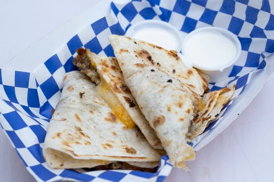 Goetta quesadillas from Goetta and Suessikeiten are photographed at the opening day of Oktoberfest Zinzinnati in downtown Cincinnati, Ohio on Friday, Sept. 20, 2019.