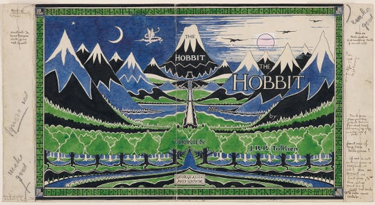 "J.R.R. Tolkien not only illustrated ""The Hobbit,"" but was also closely involved in its production, designing the dust-jacket and binding."